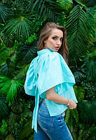 Свободная женская блуза с открытой спиной в расцветках u-ta61137