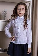 Школьная белая блуза с кружевным жабо.116-134р.
