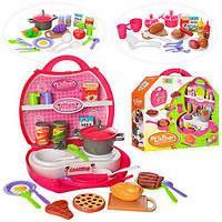 Кухня 8336ABC (24шт.) плита+мойка,посуда,продукты,чемодан,от32предм,3вида,в коробке30-28-9,5см.