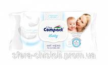 Детские влажные салфетки Ultra Compact Baby Sensitive Wet Wipes  с клапаном(72 штук в упаковке)