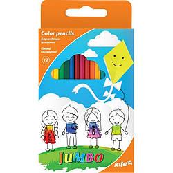 Карандаши цветные трёхгранные Jumbo Kite, 12 цветов K17-048
