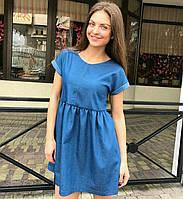 Стильное джинсовое платье с юбкой на сборке