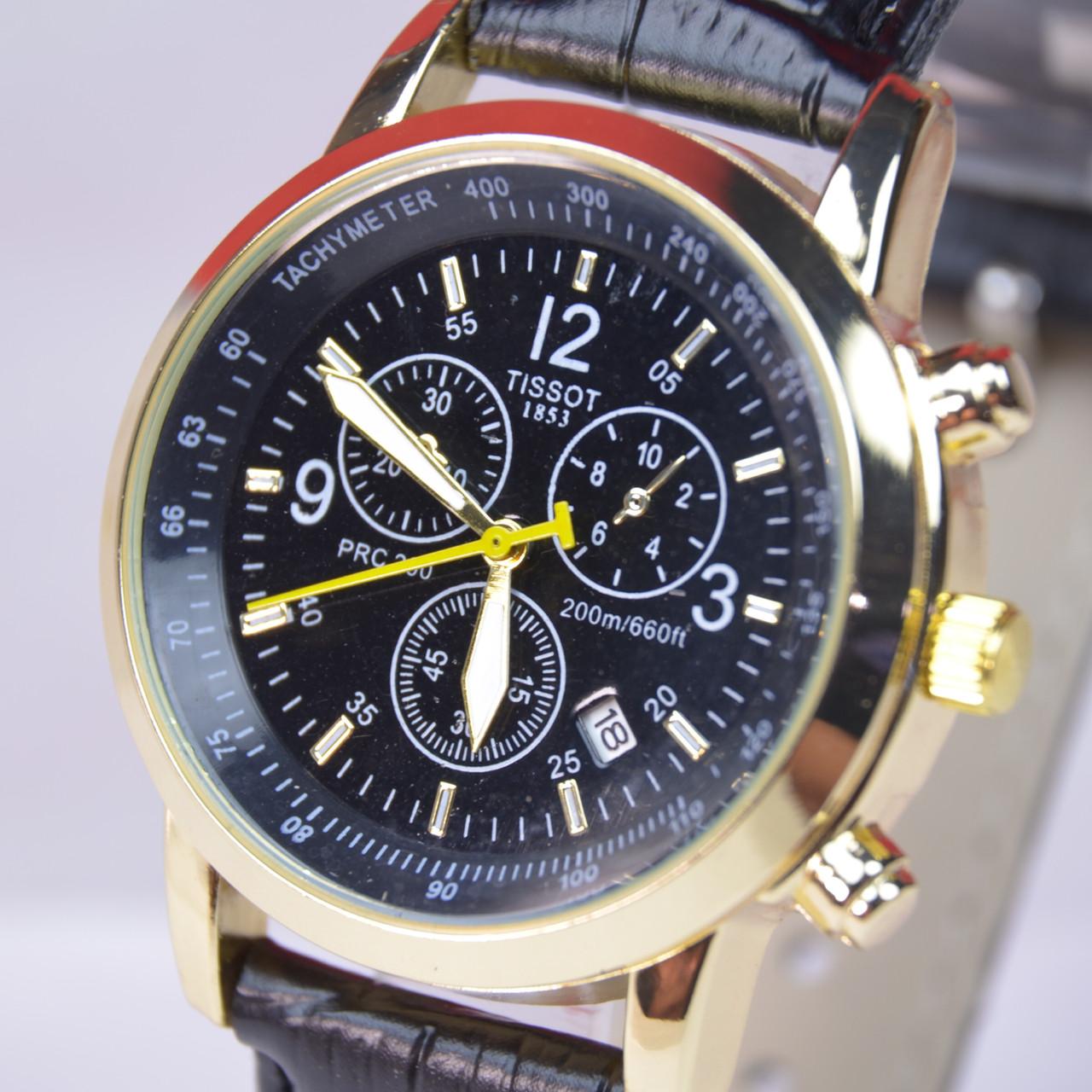 Мужские наручные часы с календарем (черный циферблат)
