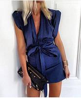 Модное платье с глубоким вырезом из денима джинса темно синего цвета
