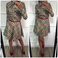 Короткое платье Барбери с планочкой на груди