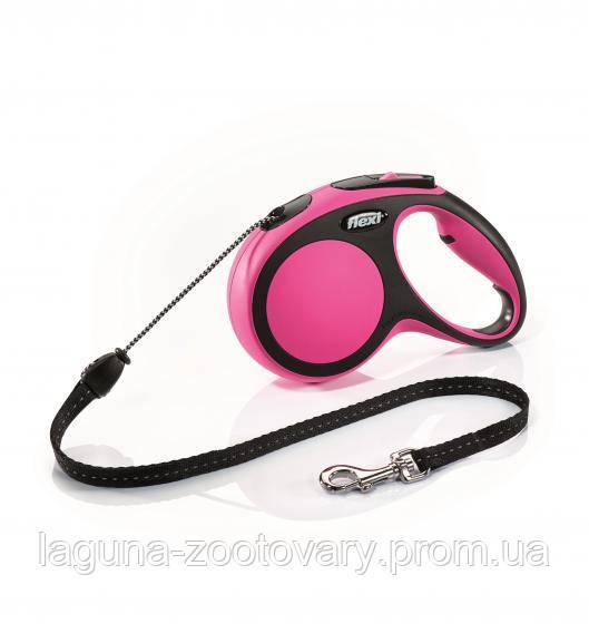 """Поводок - рулетка, розовый, 8м, трос, Флекси  """"Нью Комфорт"""", для собак до 20кг"""