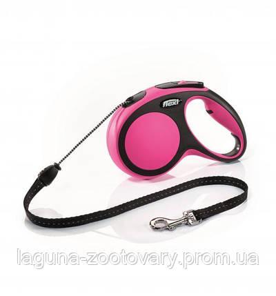 """Поводок - рулетка, розовый, 8м, трос, Флекси  """"Нью Комфорт"""", для собак до 20кг, фото 2"""