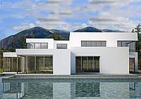 Проект дома, Дом хай-тек белый 297м2