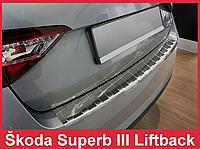 Накладка на бампер с загибом и ребрами Skoda Superb 3 Liftback