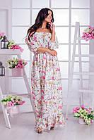 Приталенное платье со спущенными плечиками, в цветочный принт.