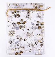 Мешочек подарочный 12х16  белый с золотыми цветочками