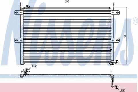 Радиатор кондиционера Volkswagen Polo 1995-2004 (без осушителя) 605*370мм по сотах KEMP