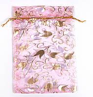 Мешочек подарочный 12х16  розовый с золотыми лепестками