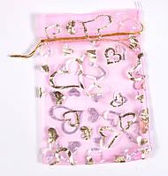 Мешочек подарочный 12х16  розовый с золотыми сердечками