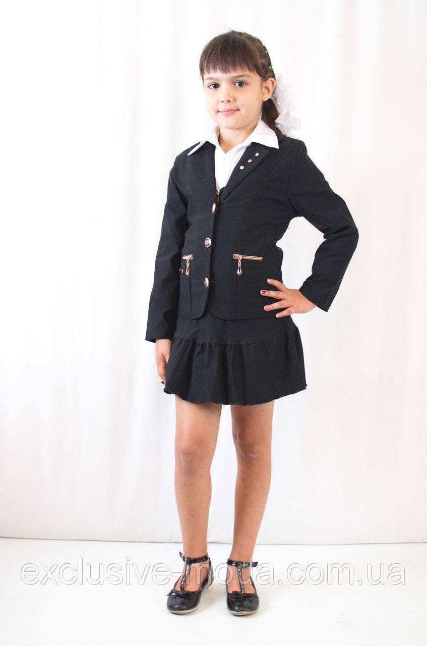 Красивый, нарядный, стильный детский черный школьный  пиджак