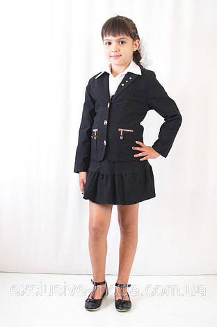 Красивый, нарядный, стильный детский черный школьный  пиджак, фото 2