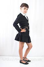 Красивый, нарядный, стильный детский черный школьный  пиджак, фото 3