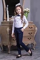 Школьные брюки с манжетом для девочки.122-164р.