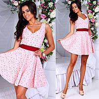 Женское льняное платье с бантом сзади
