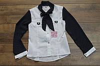 Катоновая блузка с шифоновым рукавом 134 рост