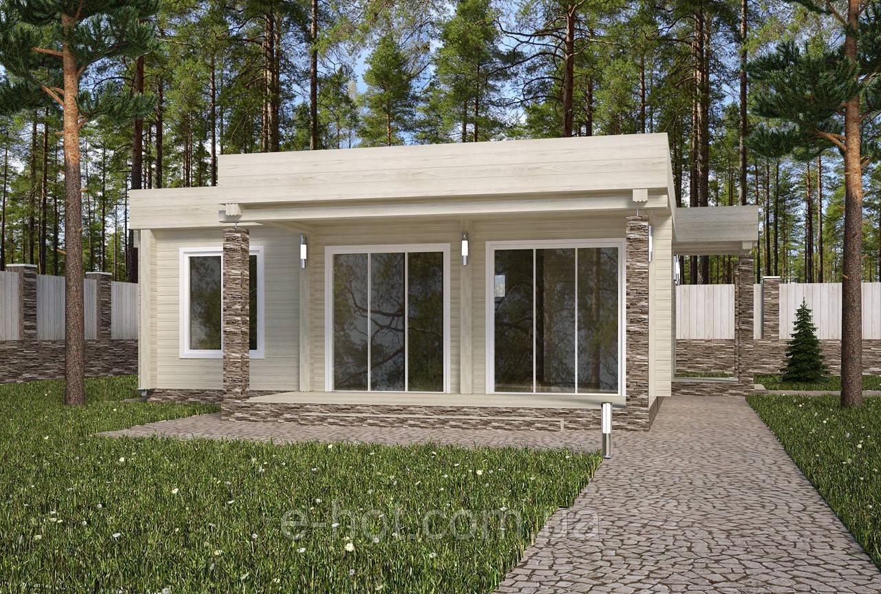 Проекты домов, Дом хай-тек белый шоколад 110м2