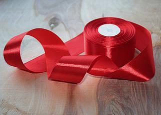 Атласная лента красная 4 см, 33м