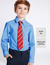 Школьная рубашка Slim Fit голубая с длинным рукавом на мальчика 5-6-7-8-9-10 лет Marks&Spencer (Англ