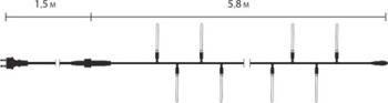 """Светодиодная гирлянда внутренняя  Delux """"Small Icicle""""  30LED 7.3м син/прозр IP20 Код.57268, фото 2"""