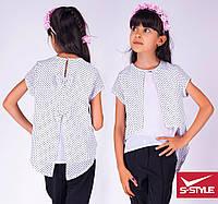 Школьная блузка для девочки в мелкий горошек