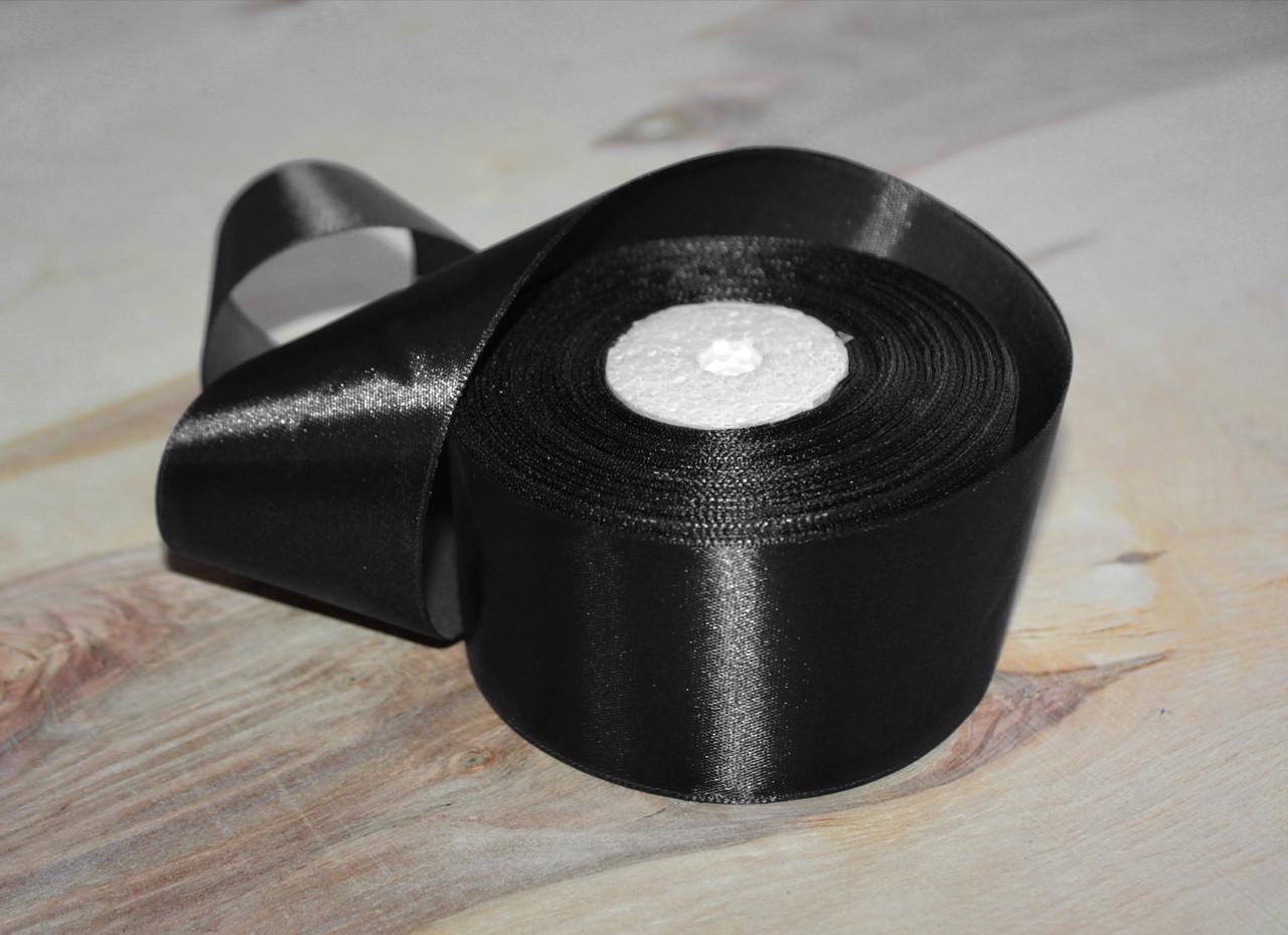 Атласная лента черная 4 см, 33м