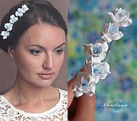 """Шпильки для волос """"Бело-голубые фрезии"""", фото 1"""