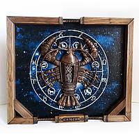 Панно Знак зодиака Рак в стиле стимпанк Оригинальный подарок мужчине на день рождения Ручная работа, фото 1