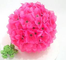 Шар из цветов из ткани розовый 21см