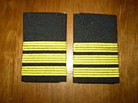 Погоны лётного состава гражданской авиации на рубашку 3 полосы золотые, чёрные