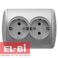Розетка двойная с заземлением серый металлик EL-BI Zirve Silverline 501-011000-907