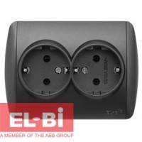 Розетка двойная с заземлением черный металлик EL-BI Zirve Silverline 501-011100-907