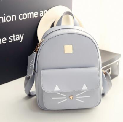 Городской женский рюкзак серый с кошельком
