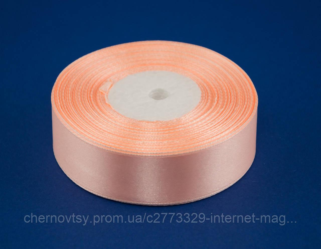 Стрічка атлас 0.9 см, 33 м, № 07 Ніжно-персикова