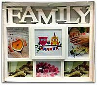 Фоторамка коллаж белая на 6 фото Family