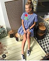 Коротенькое платье в клеточку с вышевкой цветочек и пуговицами на спине