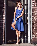 Джинсовое платье миди с пуговицами спереди и открытыми плечами