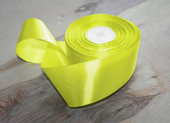 Атласная лента лимонная 4 см, 33м, фото 2