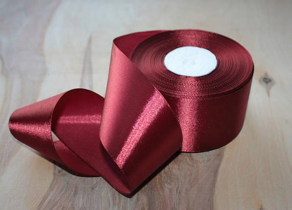 Атласная лента бордовая 4 см, 33м, фото 2