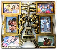 Фоторамка коллаж бронза на 6 фото Эйфелева башня
