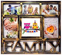 """Фоторамка коллаж бронза на 6 фото """"Family"""""""