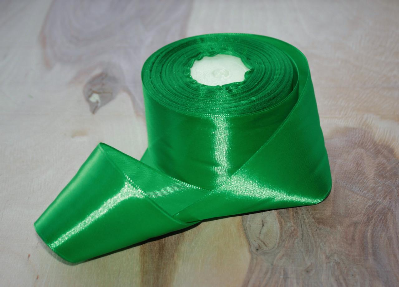 Атласная лента зеленая 4 см, 33м