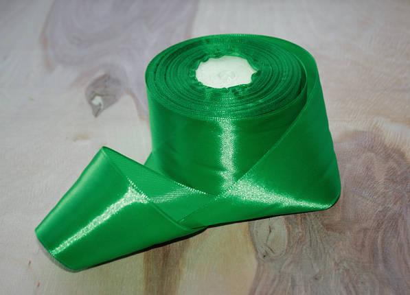 Атласная лента зеленая 4 см, 33м, фото 2