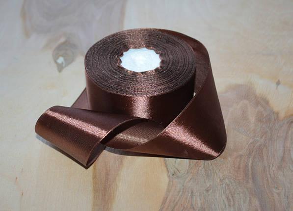 Атласная лента шоколадная 4 см, 33м, фото 2