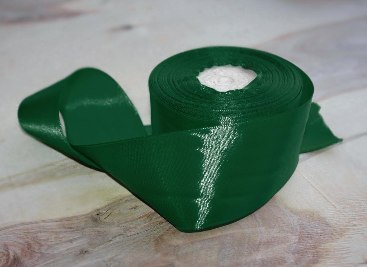Атласная лента темно- зеленая 4 см, 33м