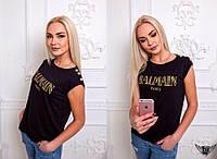 """Женская футболка с пуговками на плечах и принтом """"BALMAIN"""""""